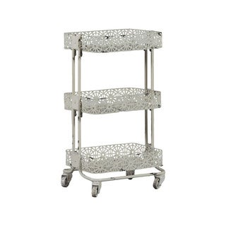 Linon Cream Metal 3-tier Cart