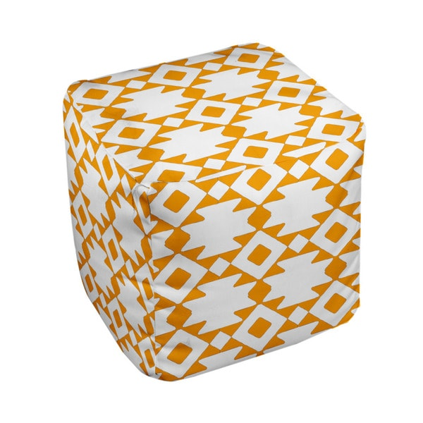 13 x 13-inch Bright Tribal Print Geometric Decorative Pouf