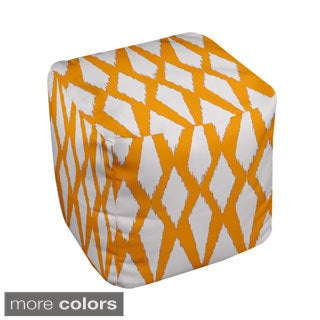 13 x 13-inch Diamond Ikat Geometric Decorative Pouf