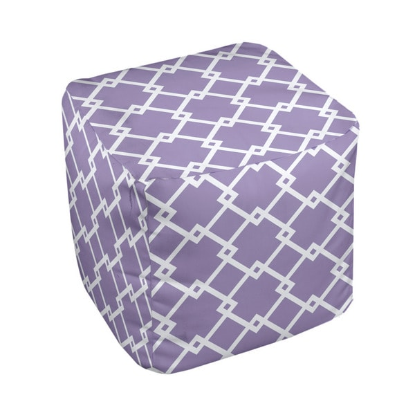 13 x 13-inch Purple Chain Link Print Decorative Pouf