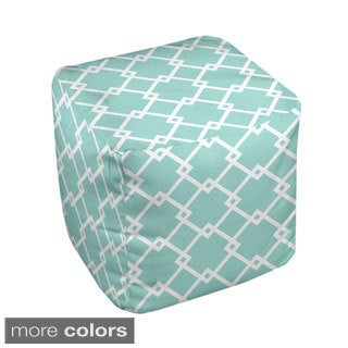 13 x 13-inch Large Chain Link Print Geometric Decorative Pouf