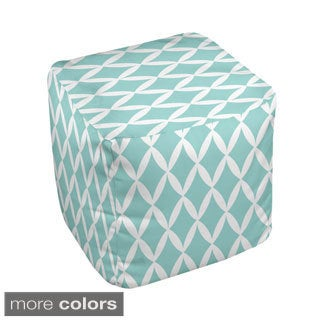 13 x 13-inch Trellis Print Geometric Decorative Pouf