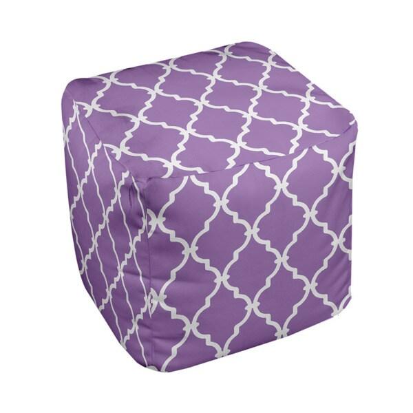 13 x 13-inch Purple Lattice Print Geometric Decorative Pouf