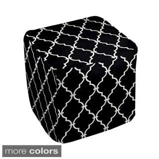 13 x 13-inch Neutral Lattice Print Geometric Decorative Pouf