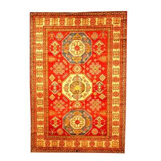 Herat Oriental Afghan Hand-knotted Tribal Kazak Red/ Tan Wool Rug (6'6 x 9'7)