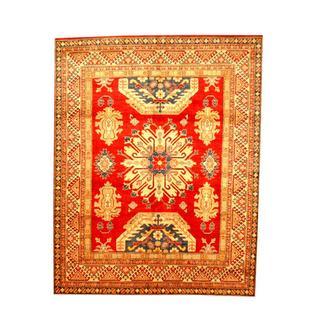 Herat Oriental Afghan Hand-knotted Tribal Kazak Red/ Tan Wool Rug (6'6 x 8')