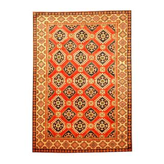 Herat Oriental Afghan Hand-knotted Tribal Kazak Rust/ Navy Wool Rug (6'2 x 8'9)