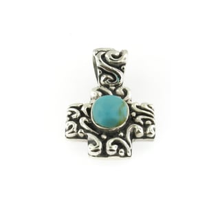 Handmade Sterling Silver Scroll Work Cross with Oval Turquoise Cabochon Pendant (Thailand)