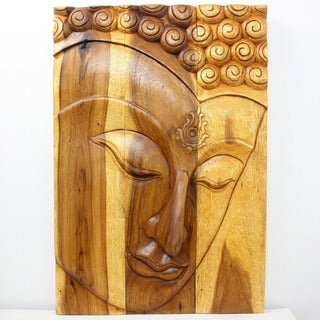 Hand-carved 30 x 20 Oak Oiled 'Buddha/ Ushnisha' Wall Panel (Thailand)