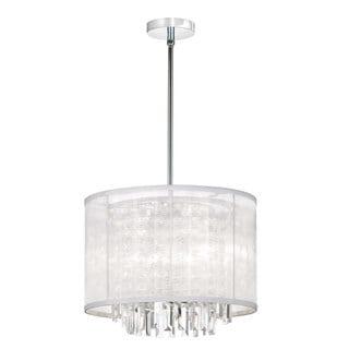 3-light Polished Chrome/ White Fabric Chandelier