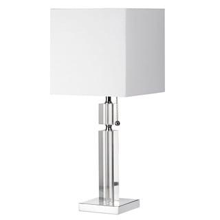 Single-light Polished Chrome Square Shade Table Lamp