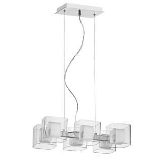 Courtney 6-light Polished Chrome/ Triple Glass Pendant