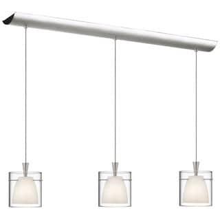 3-light Satin Chrome/ Glass Pendant