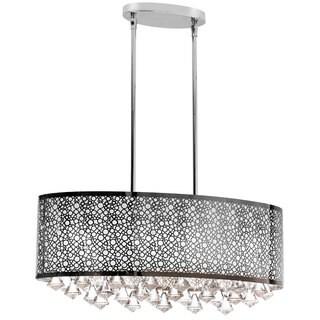 6-light Polished Chrome Crystal Oval Chandelier