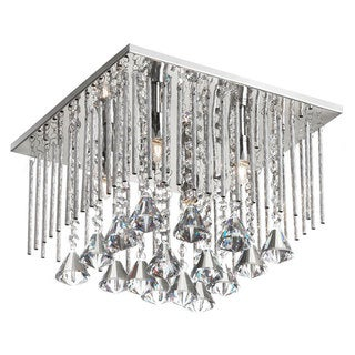 Dainolite 4-light Crystal Square Flush Mount Fixture