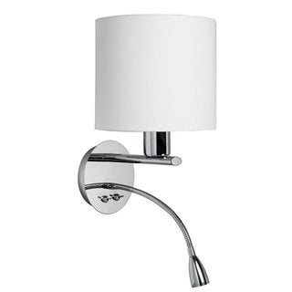 Polished Chrome/ White Fabric Wall Sconce with Gooseneck LED Reading Lamp