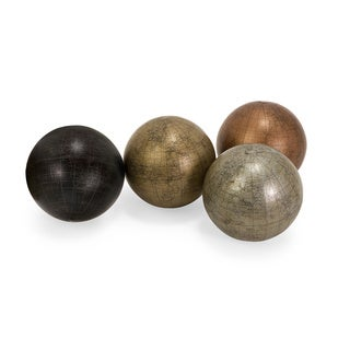 Metallic Finish 5-inch Globe Spheres with Map (Set of 4)