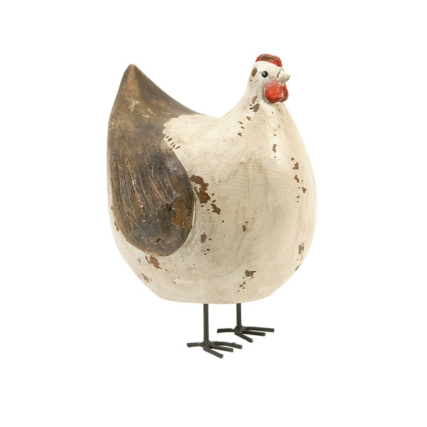 Hattie Carved Wood Hen Decorative Piece
