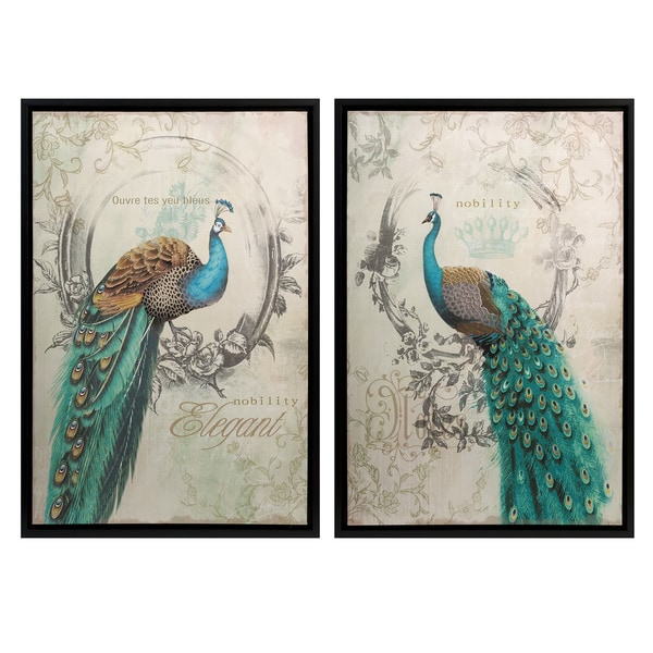 Panache Peacock Wall Art Set Of 2 16613581