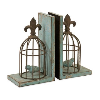 Blue Birdcage Bookends (Set of 2)