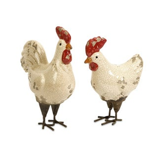 Quinn Roosters Ceramic Decorative Pieces (Set of 2)