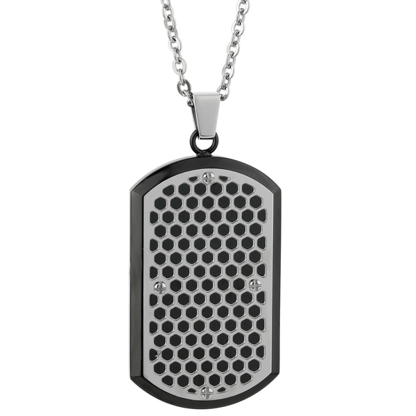 Stainless Steel Cut Out Tag Cable Chain Pendant Necklace