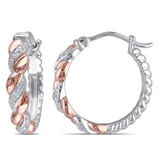 Miadora Two-tone Silver Diamond Accent Hoop Earrings
