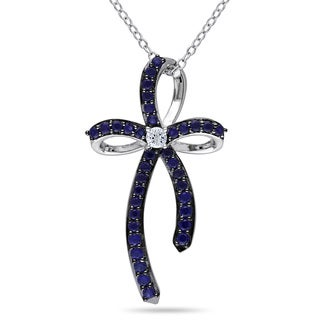 Miadora Sterling Silver Created White and Blue Sapphire Cross Necklace