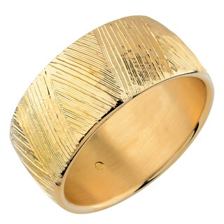 Oro Forte 14k Yellow Gold 32-mm Bold Textured Slip-on Bangle