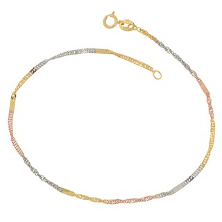 Fremada 10k Tri-tone Gold Italian Singapore Chain with Flat Stations Bracelet