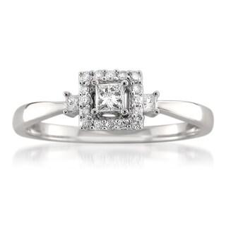 14k White Gold 1/4ct TDW Princess-cut Diamond Ring (H-I, I1-I2)