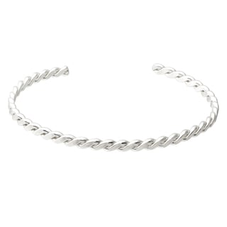Journee Collection Sterling Silver Handcrafted Twist Cuff Bracelet