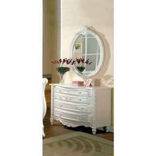 Furniture of America Mystical Reign Pearl White 2-piece Dresser and Mirror Set