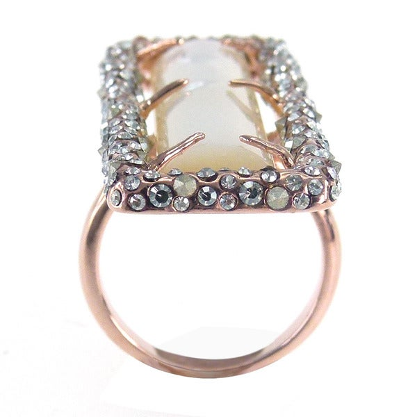 De Buman 18K Rose Goldplated & White Shell Ring