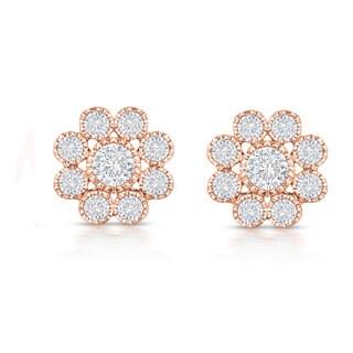 Collette Z Sterling Silver Cubic Zirconia Flower Stud Style Earrings