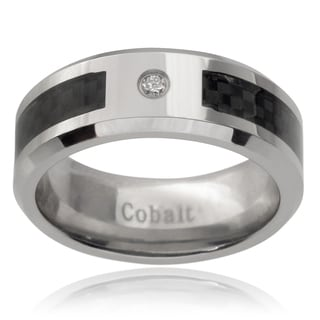 Vance Co. Men's Cobalt Diamond Accent Carbon Fiber Inlay Band (8 mm)
