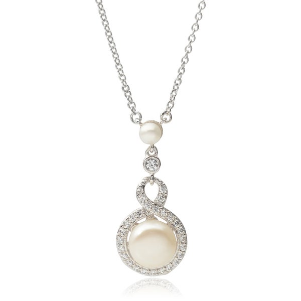 Journee Collection Sterling Silver Cubic Zirconia Faux Pearl Necklace