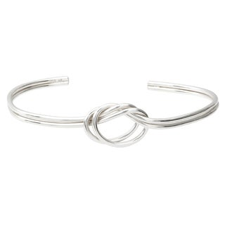 Journee Collection Sterling Silver Handcrafted Knot Cuff Bracelet