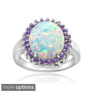 Glitzy Rocks Sterling Silver Created Opal and Gemstone Ring