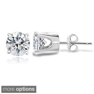 Icz Stonez 14k Gold 100 Facets 1 3/5ct TGW Cubic Zirconia 5mm Round Stud Earrings