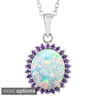 Glitzy Rocks Sterling Silver Created Opal and Gemstone Necklace