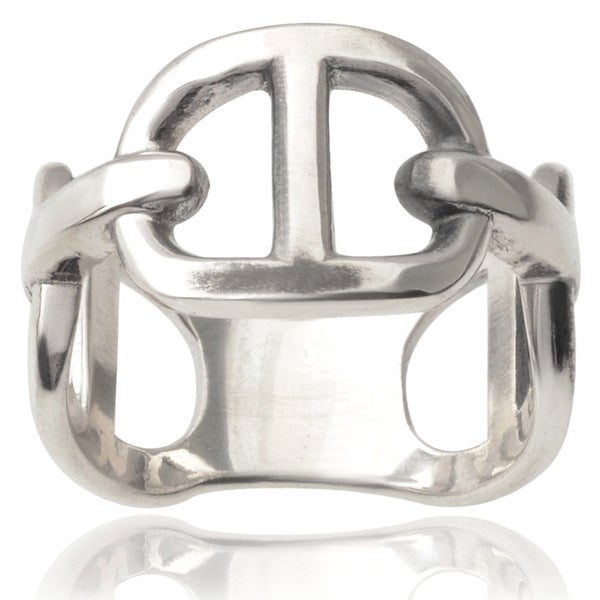 Journee Collection Sterling Silver Chain Ring