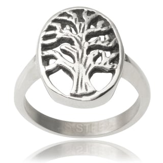 Journee Collection Stainless Steel Tree of Life Ring