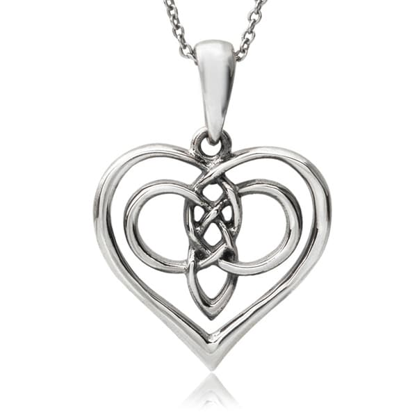 Journee Collection Sterling Silver Celtic Heart Pendant