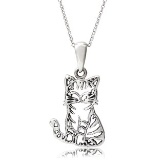 Journee Collection Sterling Silver Cat Pendant