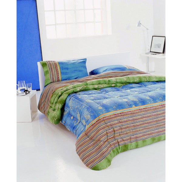 Bassetti 'Bibi V2' Blue and Green Paisley Striped Comforter
