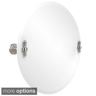 Retro Unframed Round Beveled Edge Tilt Wall Mirror