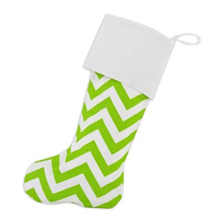 Zig-zag Chartreuse Lined Trimmed Stocking