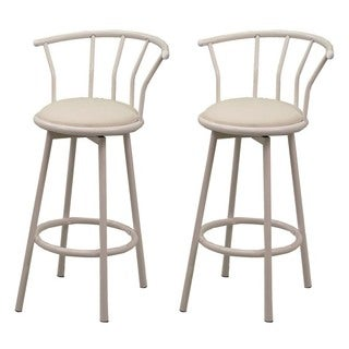 White Metal Barstools with Swivel (Set of 2)