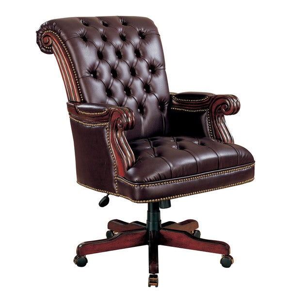 Dark Brown Vinyl Executive Office Chair